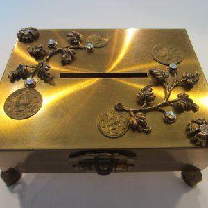 Folk Art Ormolu Brass Bank Embellished Stone Coin